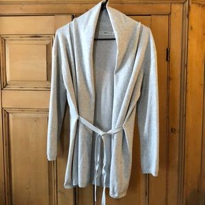 Zara Knit open front  tie waist shawl collar Sz L